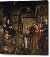 Rembrandt In His Studio Canvas Print