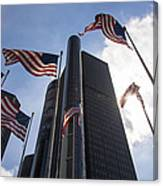 American Flags And Renaissance Center Canvas Print