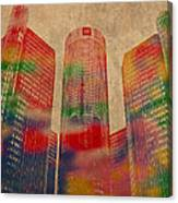 Renaissance Center Iconic Buildings Of Detroit Watercolor On Worn Canvas Series Number 2 Canvas Print