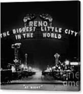 Reno Nevada The Biggest Little City In The World. The Arch Spans Virginia Street Circa 1936 Canvas Print