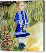 Renoir Girl With Watering Can In Watercolor Canvas Print