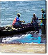 Repairing The Net At Lake Victoria Canvas Print