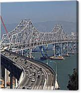 Replacement Of The Easter Span San Francisco Oakland Bay Bridge From Yerba Buena Island Oct 9th 2011 Canvas Print