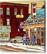Restaurant Greenspot And Coin Vert Boutique Fleuriste Montreal Winter Street Hockey Scenes Canvas Print