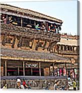 Restaurant In Bhaktapur Durbar Square In Bhaktapur-nepal Canvas Print