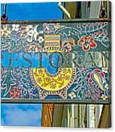 Restaurant Sign In Old Town Tallinn-estonia Canvas Print