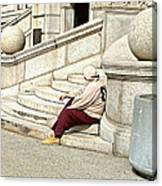 Resting On The Steps Of City Hall Canvas Print