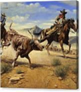 Restraint 2 Cowboys Roping A Steer Canvas Print