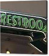 Restrooms In Neon Canvas Print
