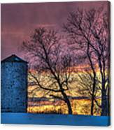 Retired Silo Watching Sunset Canvas Print