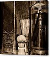 Retro Barber Tools In Black And White Canvas Print