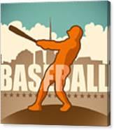 Retro Baseball Poster. Vector Canvas Print