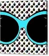 Retro Blue Cat Sunglasses Canvas Print