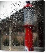 Retro Gas Pump On A Rainy Day Canvas Print