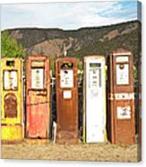 Retro Gas Pumps In Outdoor Museum Nm Canvas Print