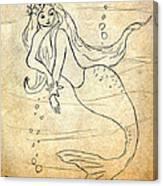 Retro Mermaid Canvas Print
