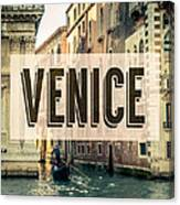 Retro Venice Grand Canal Poster Canvas Print