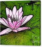 Retro Water Lilly Canvas Print