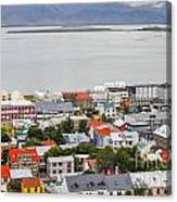 Reykjavik On The Water Canvas Print