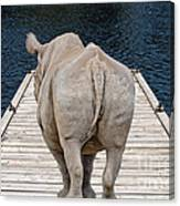Rhino On The Dock Canvas Print