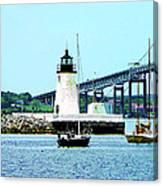 Rhode Island - Lighthouse Bridge And Boats Newport Ri Canvas Print