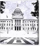 Rhode Island State House Bw Canvas Print