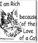 Rich Because Of The Love Of A Cat Canvas Print