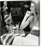 Richard Roundtree And Model At Cafe Canvas Print