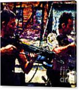 Rick And Daryl Clearing The Courtyard Canvas Print