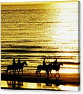 Rider Silhouettes Against The Sea Canvas Print