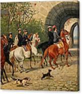 Riders At Uppsala Castle Canvas Print