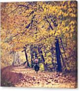 Riding A Bike In Autumn Canvas Print
