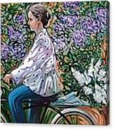 Riding Bycicle For Lilac Canvas Print