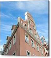 Riga Pink Building Canvas Print
