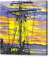 Rigging In The Sunset Canvas Print