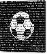 Rio De Janeiro In Words Black Soccer Canvas Print