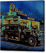 Rio Grande Homage 1950  Gas Station And Vehicle C.1935 Canvas Print