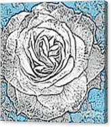 Ritzy Rose With Ink And Blue Background Canvas Print