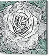 Ritzy Rose With Ink And Green Background Canvas Print
