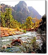 River In Zion National Park Canvas Print