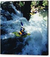 River Kayaking Over Waterfall, Crested Canvas Print
