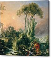 River Landscape With An Antique Temple Canvas Print