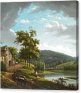 River Landscape With Farmhouse Canvas Print