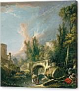 River Landscape With Ruin And Bridge Canvas Print