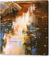 River Lines With Stones In Autumn Canvas Print