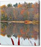 River Mirror Autumn Canvas Print