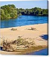 River Of Drava Green Nature Canvas Print