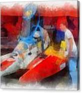 River Speed Boat Number 2 Photo Art Canvas Print