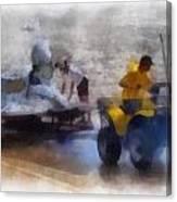 River Speed Boat White Photo Art Canvas Print