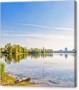 River Trees And City Skyline Canvas Print